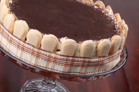 tiramisu: Delicious tiramisu cake with cocoa powder, decorated with ribbon Stock Photo