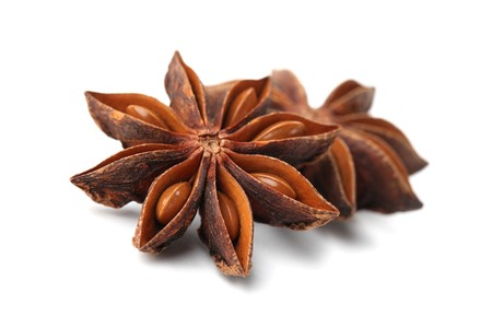 Close-up of anise on white background. Shallow dof