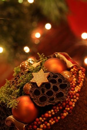 Elegant Christmas decoration on background with Christmas lights Stock Photo - 8384857