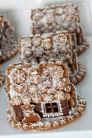 Gingerbread houses in a bakery. Shallow dof photo