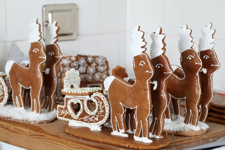 Gingerbread reindeers in an old bakery. Shallow dof Stock Photo - 8455543