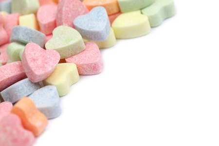 colourful candy: Frame made of little colorful candy hearts