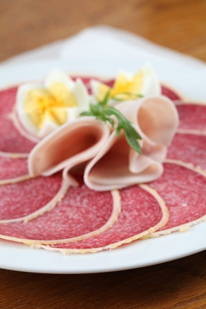 Salami with parmesan crust on a plate with ham and eggs. Shallow dof Stock Photo - 8664452