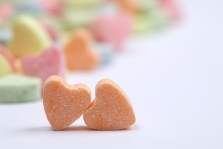 Little colorful candy hearts on white background. Shallow dof Stock Photo - 8771039
