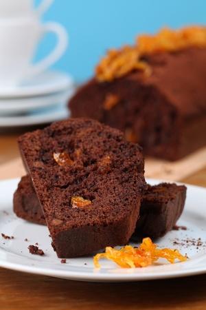Chocolate cake with candied orange peel. Shallow dof Stock Photo - 8772159