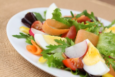 placemat: Mixed greens with eggs, cherry tomatoes, radish, carrot and yellow bell pepper. Shallow DOF