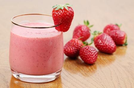 Fresh strawberry milk shake in a glass