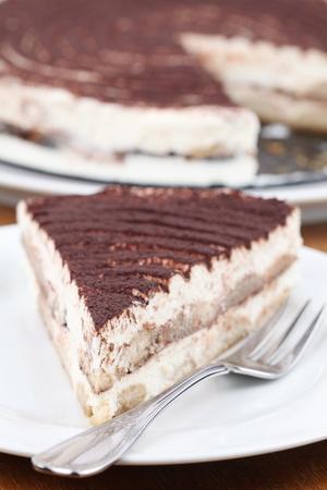 Tiramisu cake on a plate. Shallow dof photo