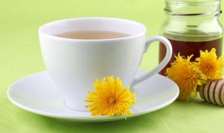 Healthy herbal tea made from freshly picked dandelions with honey Stock Photo - 9503633