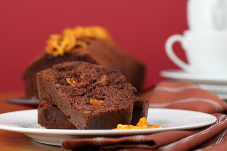 Chocolate cake with candied orange peel. Shallow dof photo
