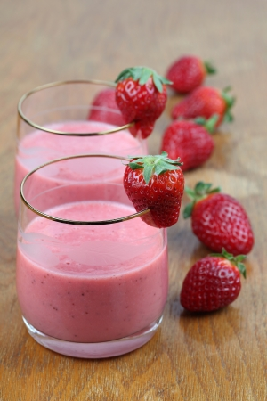 Fresh strawberry milk shake in two glasses Stock Photo - 9888795