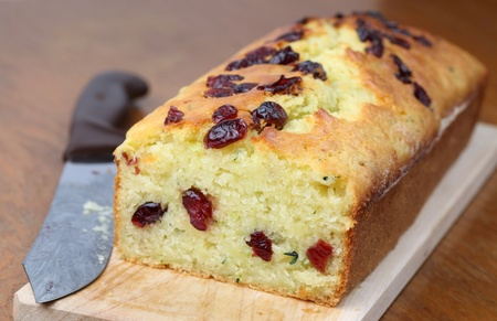 Zucchini bread with cranberries. Shallow dof photo