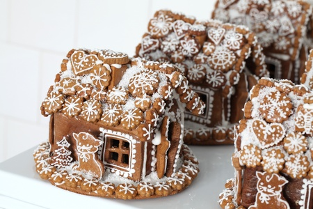 Christmas gingerbread houses in a bakery. Shallow dof