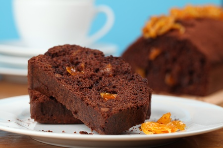 candied: Chocolate cake with candied orange peel. Shallow dof