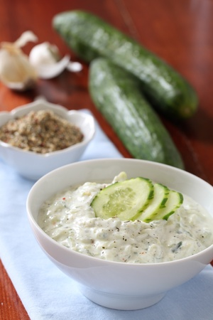 tzatziki: Tzatziki - Greek yogurt sauce with cucumbers, dill and garlic, known as tarator or snezhanka in Bulgaria or zaziki in Turkey  Shallow DOF