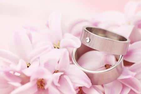 Titanium wedding rings on pink background with hyacinth  Shallow dof