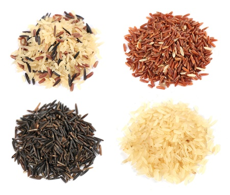 black seeds: Various kinds of rice on white background