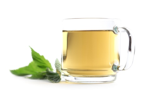 Nettle and freshly made nettle tea in a glass cup isolated on white background  Shallow dof Stock Photo - 14305641