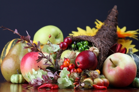horn of plenty: Autumn cornucopia - symbol of food and abundance Stock Photo