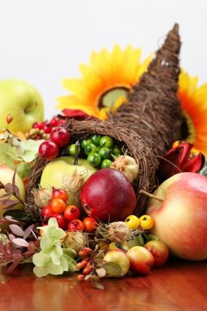 Autumn cornucopia - symbol of food and abundance Stockfoto