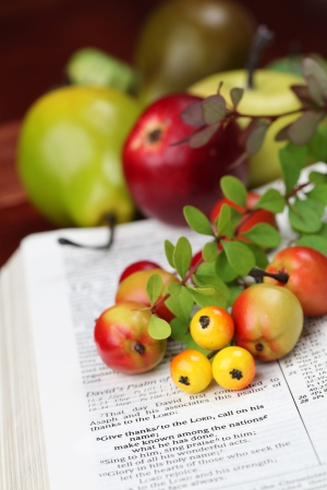 Thanksgiving arrangement with the Bible open to 1 Chronicles 16 8
