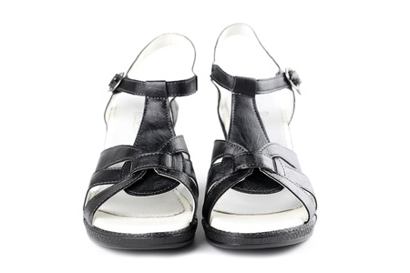Black leather shoes isolated on white background Stock Photo - 15083287