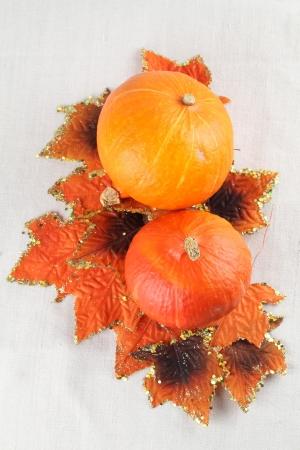 autumn arrangement: Autumn arrangement with Hokkaido pumpkins and colorful leaves