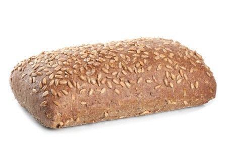 breadloaf: Loaf of fresh bread with sunflower seeds isolated on white background Stock Photo