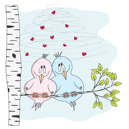 illustration of two cute birds in love, sitting on a branch of a tree , no transparencies, no gradients Stock Vector - 17920262