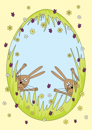 illustration of an Easter egg with happy bunnies  Stock Vector - 18097767