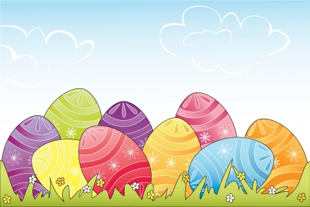 Colorful Easter eggs in grass  Fully, easily editable  illustration that can be used at any size  Included files  , JPG  No transparencies Stock Vector - 18201135