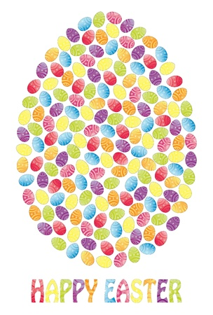 Easter egg made of many small Easter eggs with the note Happy Easter  Fully, easily editable illustration that can be used at any size  Included files, JPG  Text converted to paths, no transparencies Stock Vector - 18201154