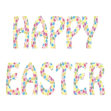 Happy Easter - text made of many small Easter eggs  Fully, easily editable  illustration that can be used at any size  Included files , JPG  No gradients, no transparencies  Vector