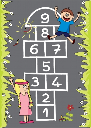 Hopscotch  Fully, easily editable illustration.
