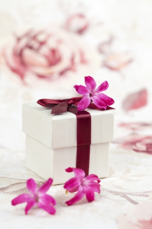 giftbox: Gift box and little pink hyacinth flowers  Shallow dof