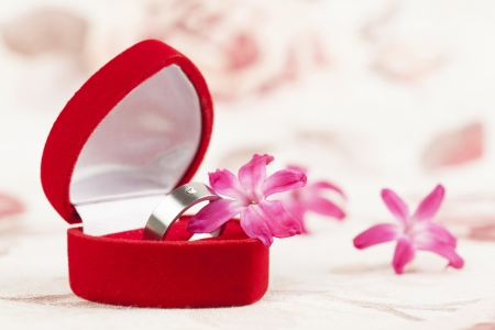 silver ring: Titanium engagement ring with diamond in a heart shaped box and little pink hyacinth flowers  Shallow dof