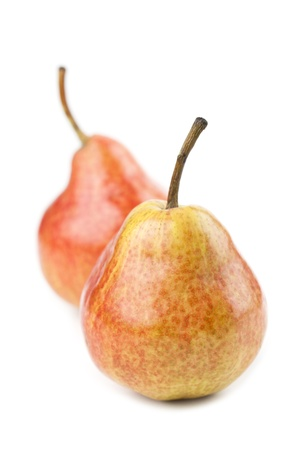 Organic red pears isolated on white background photo