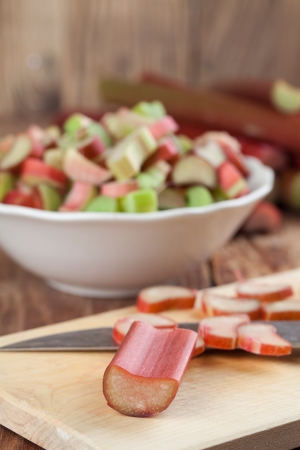 rhubarb: Fresh rhubarb on cutting board  Shallow dof