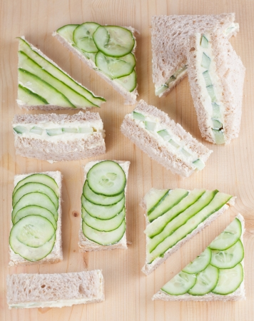 Healthy sandwiches with fresh cucumber  Shallow dof photo