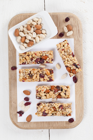 granola bar: Granola bars with various nuts, seeds and cranberries