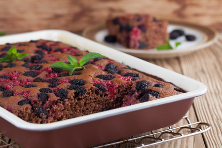 gingerbread cake: Gingerbread cake with mulberries and red currants. Shallow dof