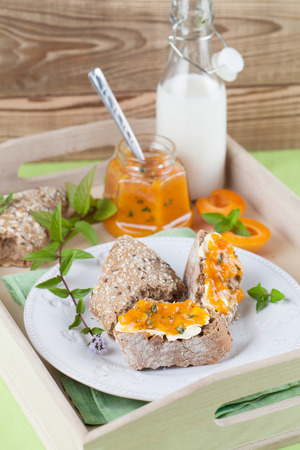 Bread with homemade spicy apricot and mint jam