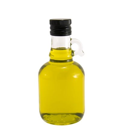 Olive oil in original bottle on a white close-up Stock Photo