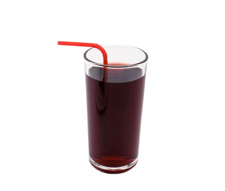 Glass of fresh cherry juice on white background close-up