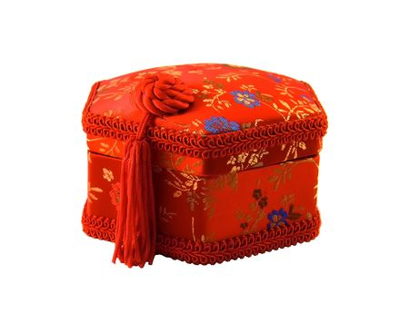 Red small box for a bijouterie and decorations