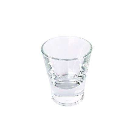 Empty drinking glass on a white
