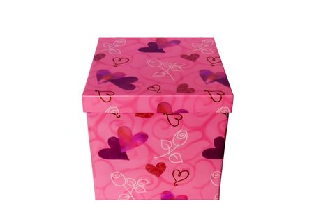 Beautiful pink box with hearts for gifts on a white background