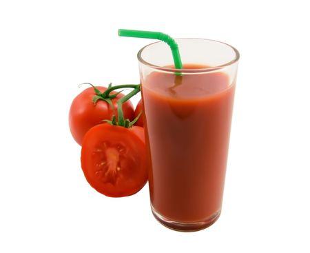 Tomato juice and tomato close-up Stock Photo