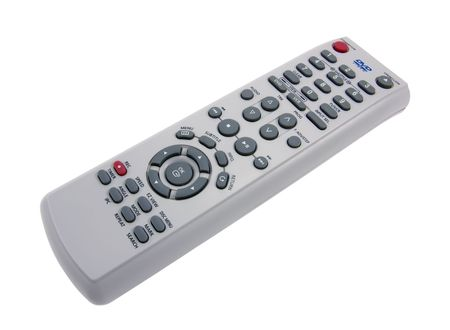 DVD remote control on a white background close-up photo