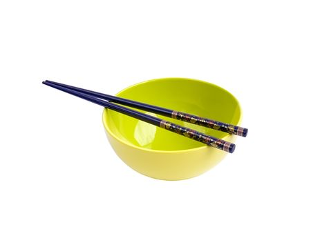 Bowl for rice and chopsticks on white background Stock Photo